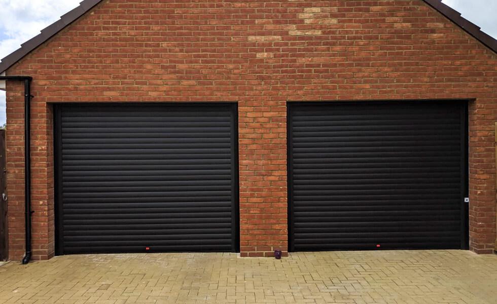 Dual black garage doors