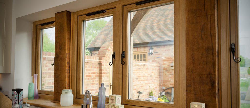 Oak effect flush sash window interior view