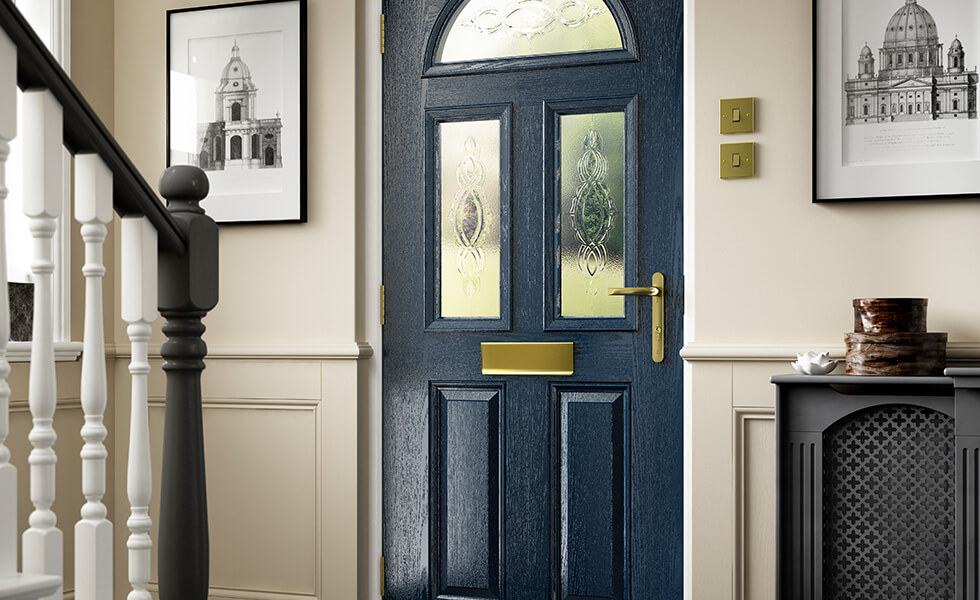 Blue composite front door interior view