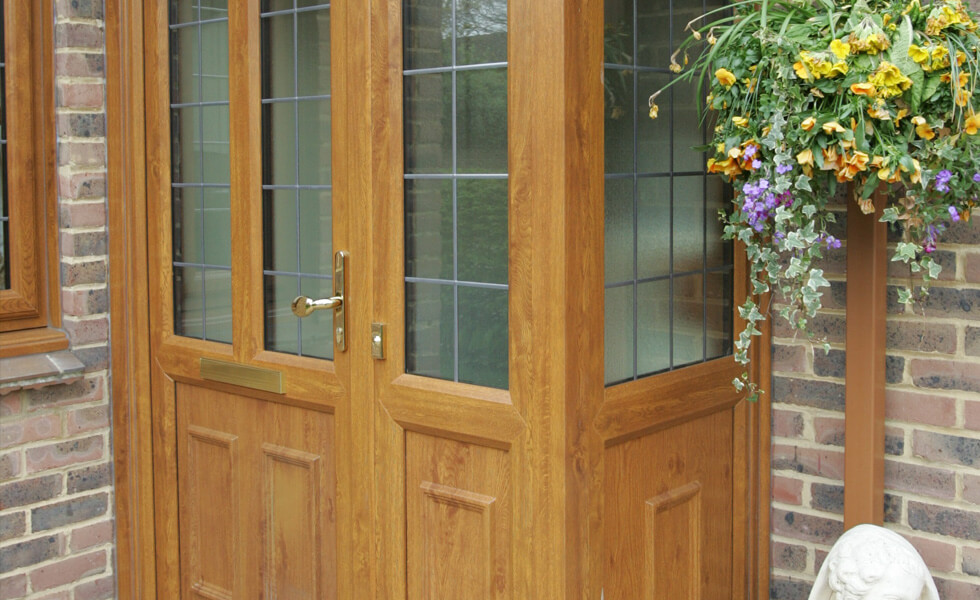 Golden oak uPVC porch