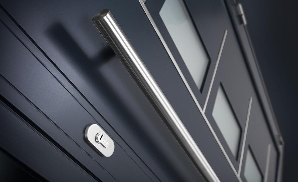 Modern grey aluminium front door