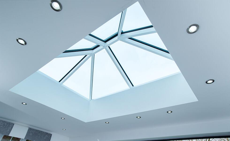 Modern white lantern roof interior view