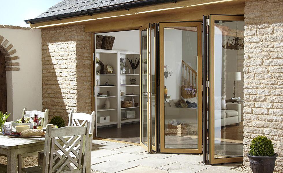 Bifold doors in wood effect.