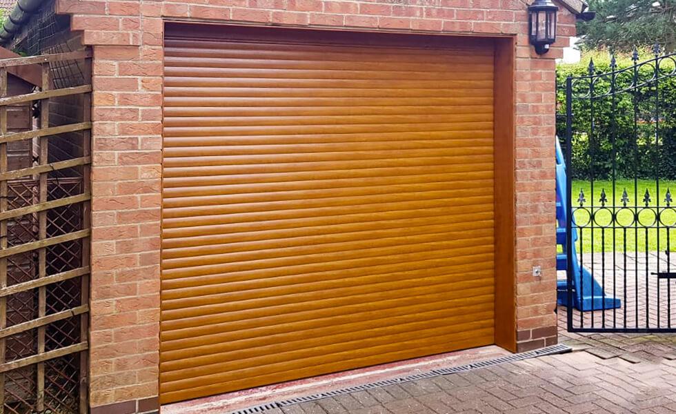 Oak effect roller garage door