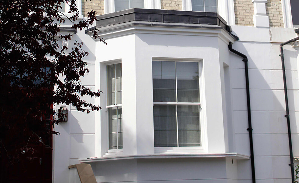 White timber sliding sash windows