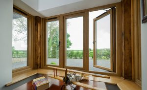 Oak effect uPVC flush sash window interior view