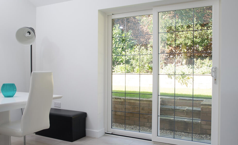 White uPVC sliding patio door interior view