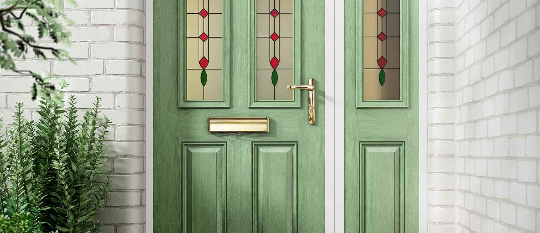 Chartwell green glazed composite front door