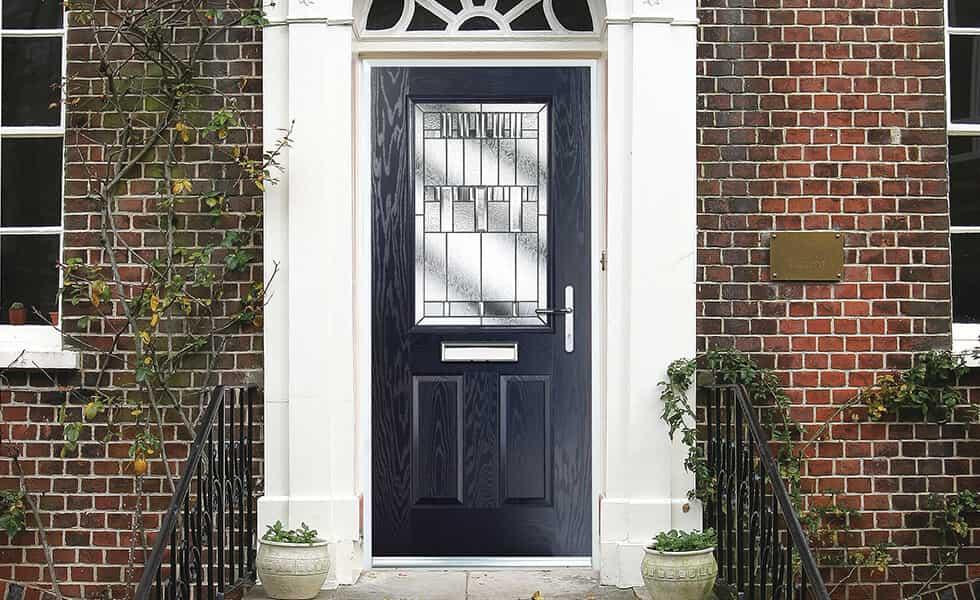 Dark blue composite front door