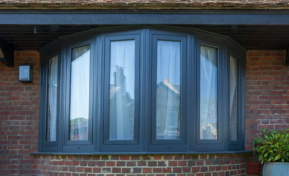 Grey uPVC flush sash bow window