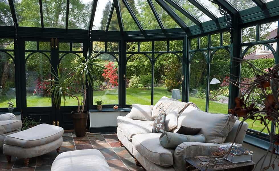victorian style conservatory with plants