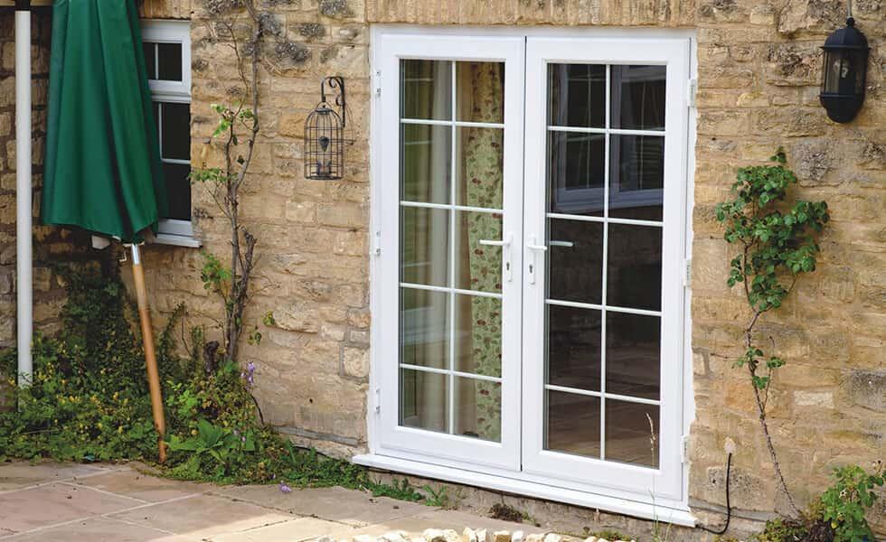 Classic white uPVC french door