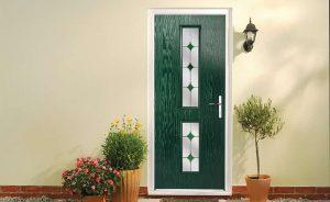 Contemporary dark green composite entrance door